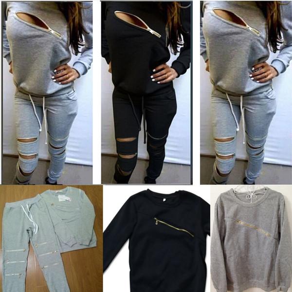 Fashion Sport 2pcs Women Set Tracksuits Statement Personality Zipper Casual Sets Cloth + Pants 2XL Plus Size