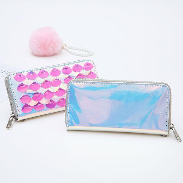 new lady laser wallet mermaid transparent fish scale long wallet Korean version hand bag girl.