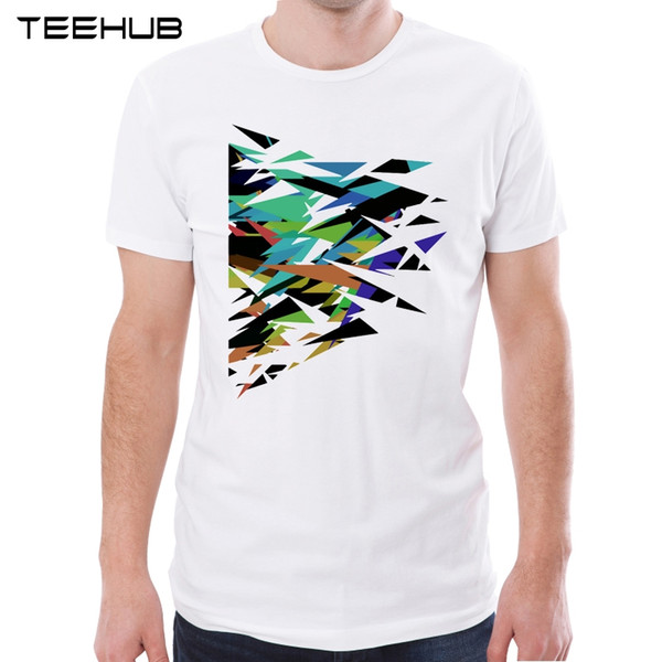 TEEHUB New Arrival 2018 Men Fashion Abstract Geometric Art Printed T-Shirt Hipster Tee Cool Design Tops