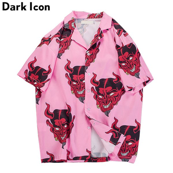 Devil Full Printing Turn-down Collar Casual Shirts Men 2018 Summer High Street Men's Shirts Pink /Purple Y1892102
