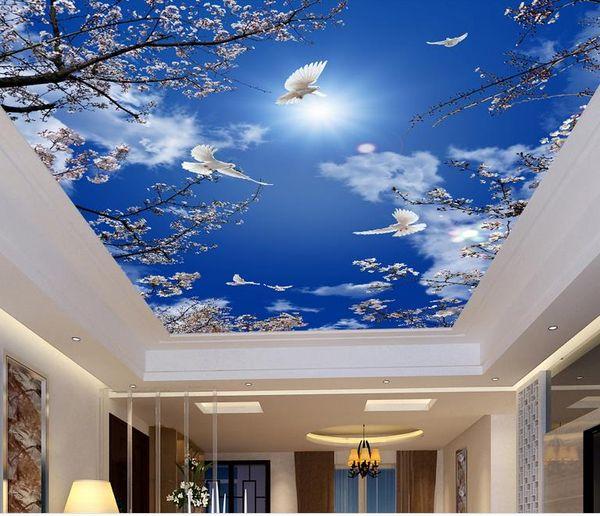 top popular Custom 3d mural wallpaper ceiling Hotel Cherry blossom, blue sky mural wallpaper for walls 3d ceiling wallpaper 2021