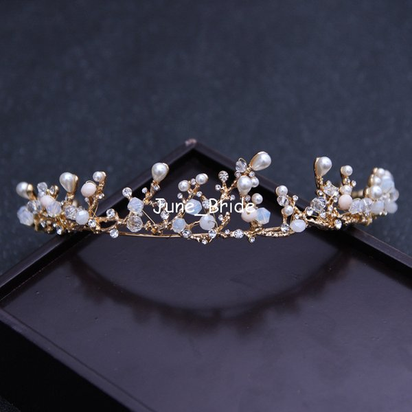 High Quality New Unique Royal Princess Gold Baroque Tiara Bridal Crown Wedding Luxury Crystal Pearl Prom Party Hair Accessory Free Shipping