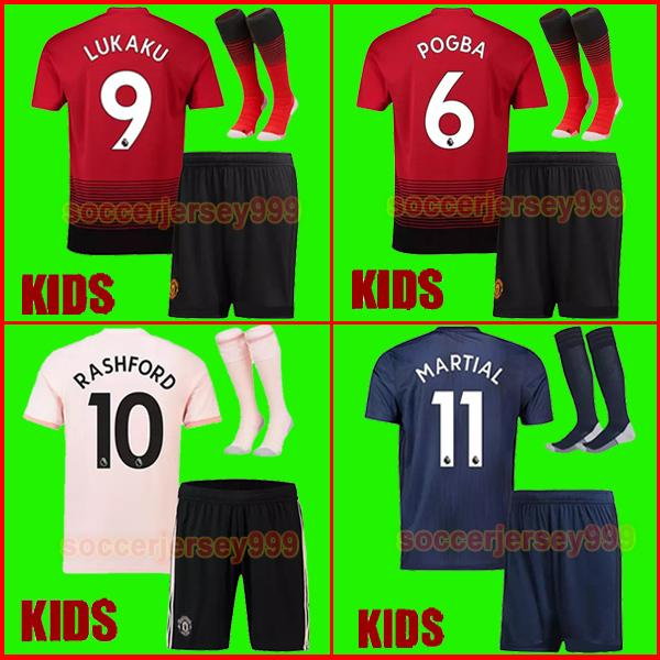 18 19 FC Manchester United Soccer Jersey 2018 2019 Jerseys UTD POGBA LUKAKU RASHFORD ALEXIS MATA football shirt KIDS Kit boys set uniforms