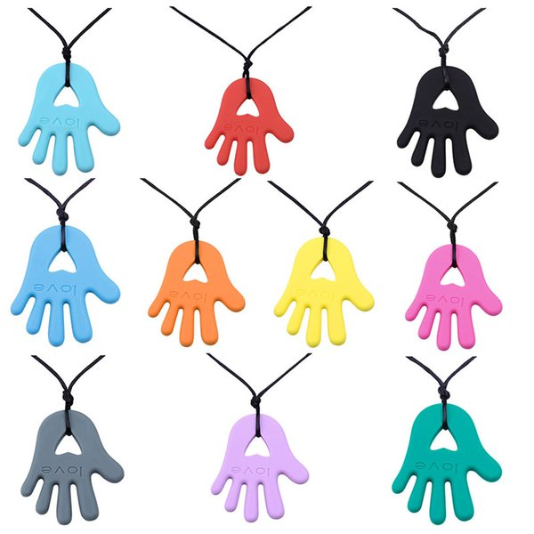 Silicone Teethers Necklaces Baby Teether Toys Food Grade Toddler Soothers Infant Tooth Training Chewing Molars palm Pendant C3412