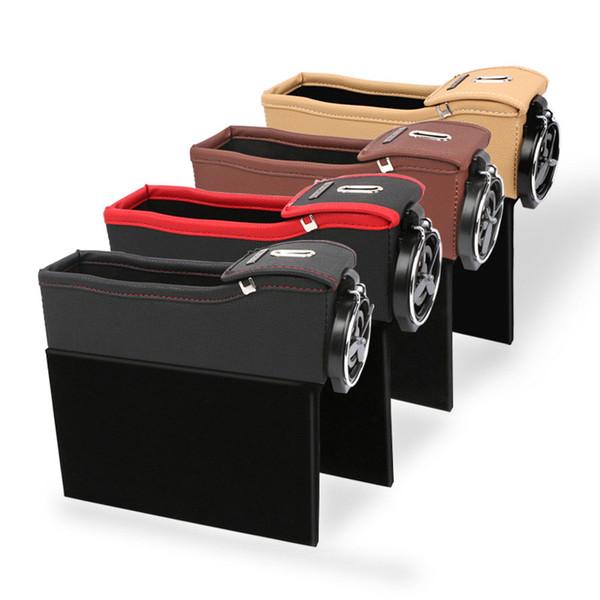 Wholese-Car Seat Storage Box Caja de almacenamiento multifuncional para autos Organizador para autos Soporte para agua Material de cuero Negro para regalo.