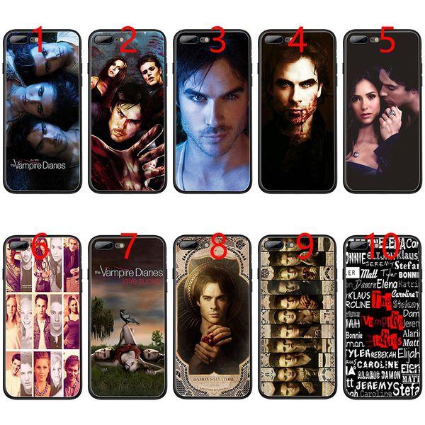 Funda de teléfono TPU negra suave para el iPhone XS Max XR 6 6s 7 8 Plus 5 5s SE de The Vampire Diaries