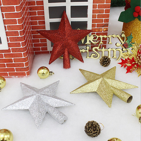 1PCS Hot Sale New Cute 20cm Silver Gold Red  Christmas Star Christmas Tree Toppers tree ornaments Xmas