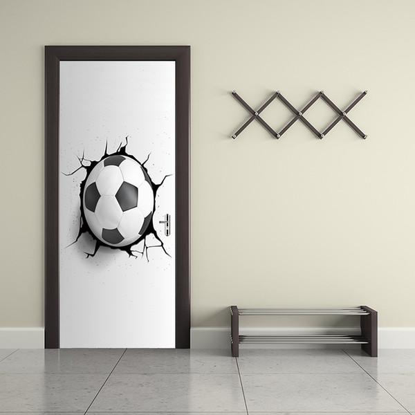 Großhandel Kreative 3D Fußball Fußball Gebrochene Wand Loch Tür Aufkleber  Tapete Hause Dekorative Kinderzimmer Wandbild Kunst Zimmer Sport Vinyl ...
