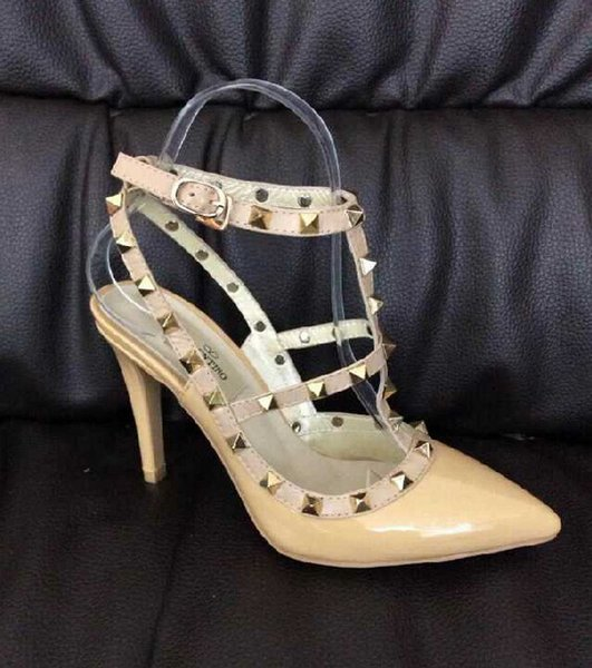 HOT! Big Size 2018 Designer 8cm 10cm Gladiator High Heels Women Shoes Nude Black Spikes T-strap Pump Patent Leather Stud Lady Shoes Summer