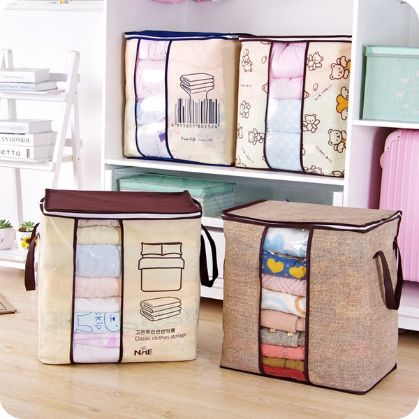 Non-woven Bed Sack Pillow Case Portable Cloths Storage Bag Folding Closet Organizer For Pillow Quilt Blanket Bedding Storage Box