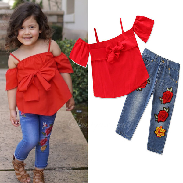 Set di vestiti estivi flower design Abbigliamento per bambini Estate Manica corta Top + Pant Abiti per bambini Set 2 pezzi