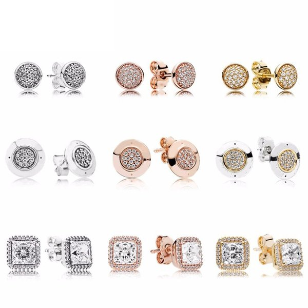 NEW 100% 925 Sterling Silver & Rose Gold Color Forever Stud Earrings With Clear For Women Original Fine Jewelry Gift