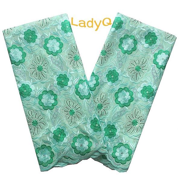 LadyQ Especial Aqua Green Nigeria Tela de encaje 2018 5 YARD Más reciente encaje blanco africano con diamantes de imitación Dubai Teal Tela de encaje verde
