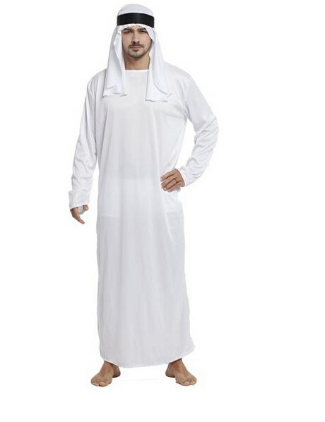 Stage Performances Halloween Party Dress Up The Arab Princes Outfit Costume White Big Robe Clothes