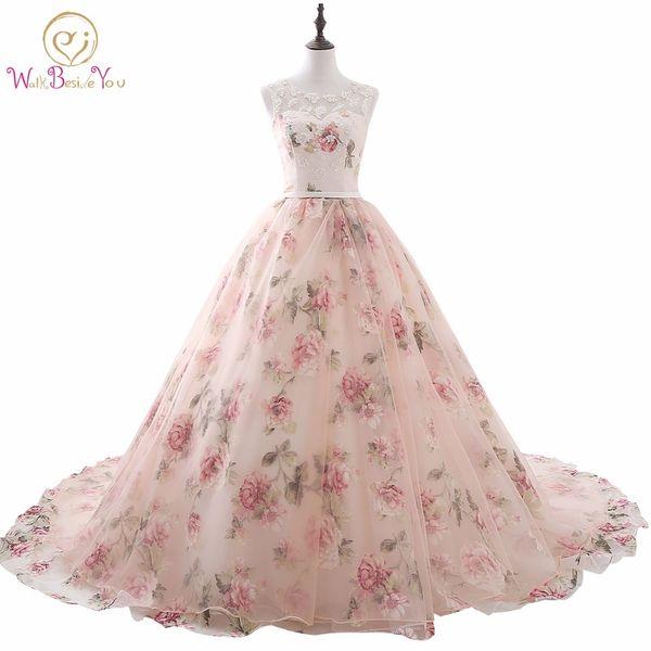vestido de noche 2018 Pink Lace Applique Beaded Scoop Prom Dresses Princess Ball Gown Long Party Print Evening Dress Women Stock C18111601