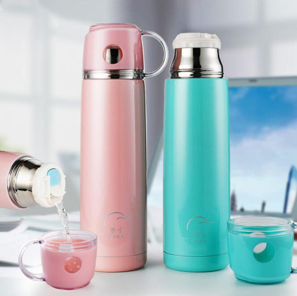 Thermal Insulation Water Bottle Stainless Steel Double Wall Water Bottle Mug Portable Thermos Kettle Student Cup Logo Custom