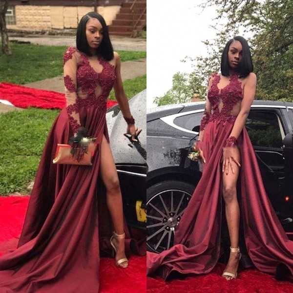 2018 New Burgundy Long Sleeves Evening Gowns Thigh-High Slit Prom Dresses Long High Split Appliques Arabic Cocktail Party Dresses BA7857
