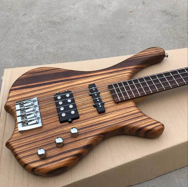 Factory Custom 4 strings Electric Bass guitar, rosewood fingerboard, zebra wood body , chrome Hardware, Real photo