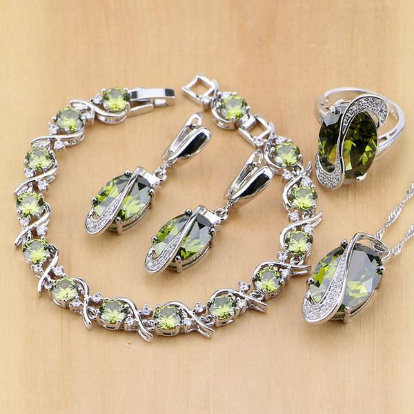 cz set Trendy 925 Sterling Silver Bridal Yellow CZ Jewelry Sets For Women Earrings/Pendant/Necklace/Rings/Bracelet