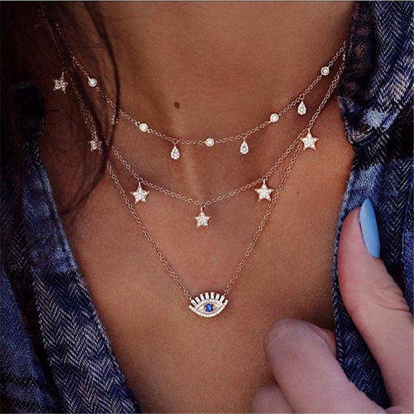 Collane a catena con pendente a forma di occhiello lungo a nappa per donne Collana a più strati con gocce d'acqua a forma di stella di cristallo Collane di collier femme