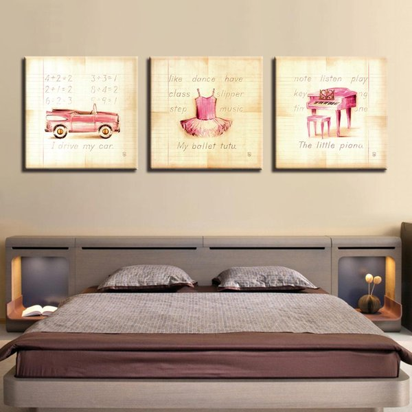 Canvas HD Print Poster Wall Art Framework 3 Pieces Pink Princess Skirt Painting Cute Piano And Car Pictures Kids Room Home Decor