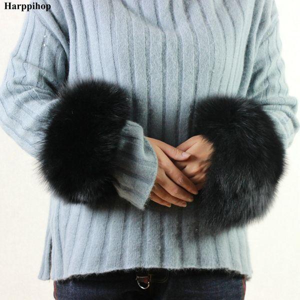 High Quality Fox fur Cuffs Hot Sale Wrist Warmer Genuine Fox Fur Cuff Arm Warmer Lady Bracelet Real Wristband Glove
