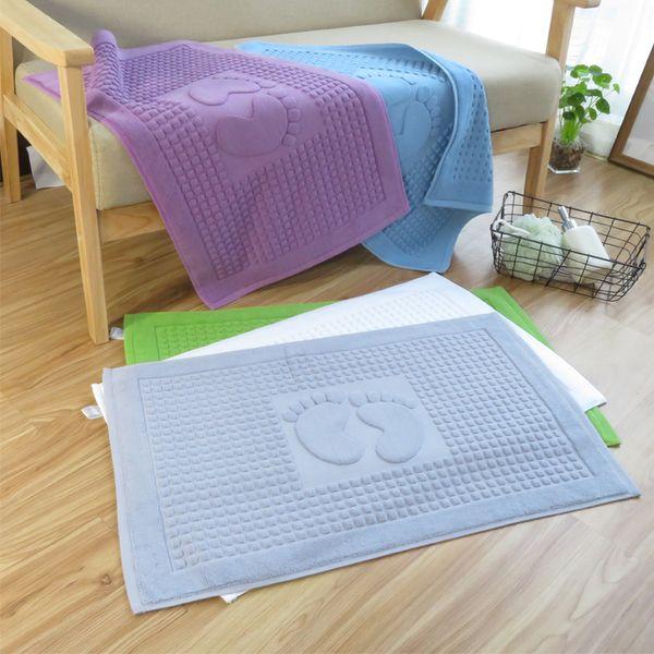 High Quality 100% Soft Cotton Super Absorbent Footprint Bath Mat Towel, Foot Towel, Bath Rug for Shower and Floor 45x75cm