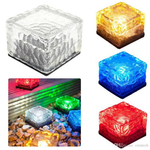 Free DHL LED Solar landscape lights Ice cube LED Solar energy underground solar lights underground lamp lighting sensor
