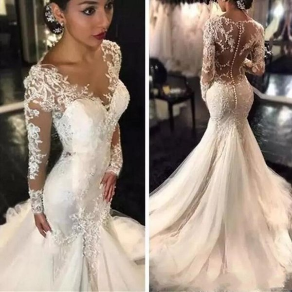 Gorgeous Lace Wedding Dresses African Arabic Style Petite Long Sleeve Fishtail Custom Made Bridal Gown with Buttons Plus Size WeddingGowns
