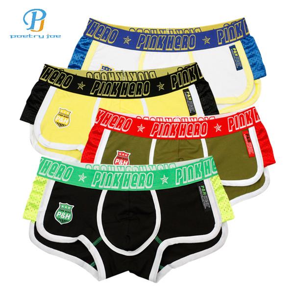 Rosa heroes 4pcs / lot männer boxer kämpfen side mode mens underwear atmungsaktive baumwolle männer tuch flache fuß unterhose für boxer