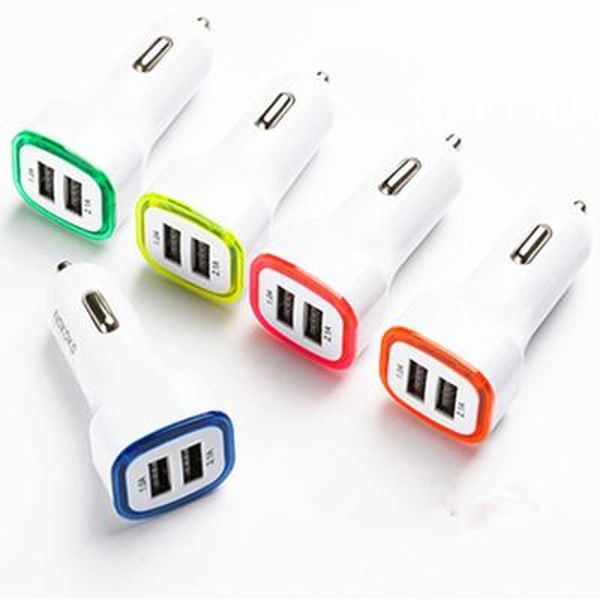 Rocket Design LED light 5v 2a Dual USB Car Charger adapter For iPhone 6 7 Samsung Universal coche de Cargador
