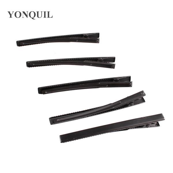 100 UNIDS / lote Negro Prong Barrettes Clips de broche Encontrar clips de cocodrilo Pinzas de cocodrilo 80 MM DIY pinzas para el cabello accesorios para el cabello envío gratis