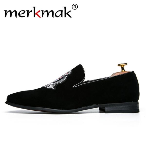 Merkmak handgemachte italienische Design-Marken-Art-Mann-Müßiggänger-vorzügliche Stickerei-Geschäfts-Kleid-Schuh-Art- und Weisebeiläufige Männer flach