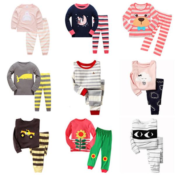 100 Designs Kids Pajama Sets Spring Autumn Dinosaur Zebra Bear Car Letters Cartoon Printed Long Sleeve Home Clothing Boys Girls Sleepwear