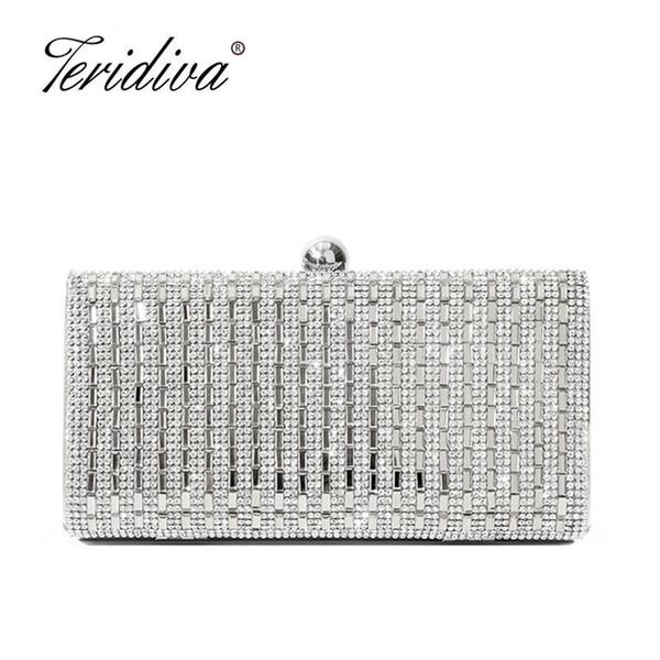 Teridiva Diamond Full Crystal Rhinestone Women Clutch Metal Bag Bridal Dress Party Handbag Evening Bag Day Clutches Purse Ba