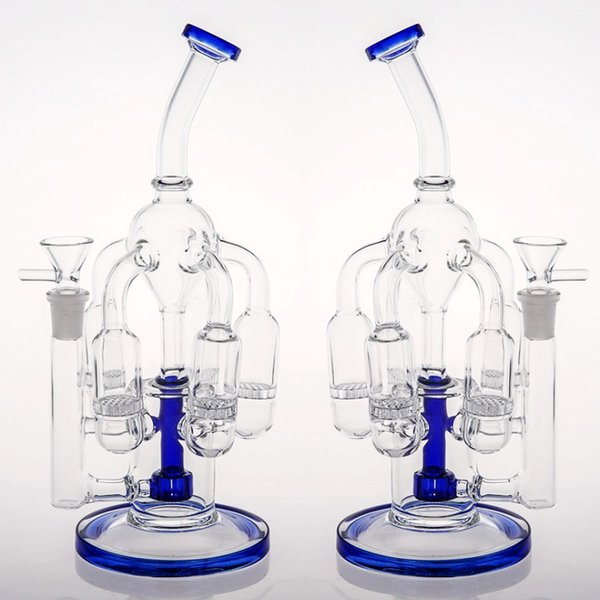 Joint 14.4mm Blue Glass Bongs 5 Honeycomb Percs Tyre Perc Dab Rigs Bongs Fast Delivery in stock Oil Rigs Bongs Water Pipes