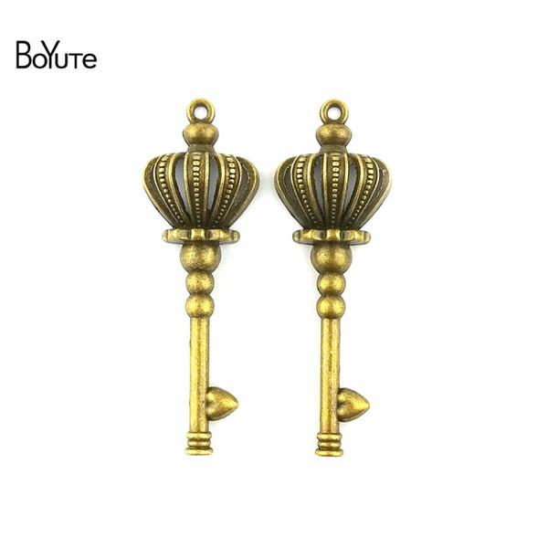 BoYuTe (40 Pieces/Lot) 52*23MM Zinc Alloy Vintage Crown Key Charms Pendants Jewelry Making Diy Necklace Charm Pendants Handmade Crafts