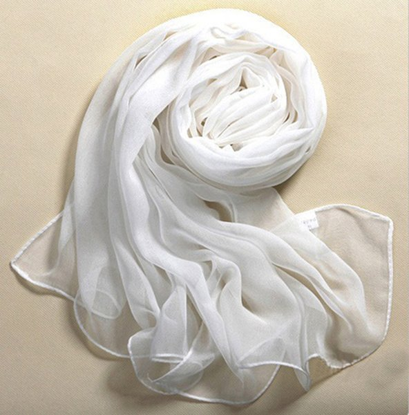 MUQGEW Beach Style 100% Soie Pure White Soft Mince Oblong Écharpe Châle Élégant Femmes New Lluxury Marque Voile Simple Et Casual