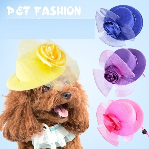 Elegant Pet Dog Hair Ornaments Dog Decorative Hairclip Dog Cat Gentleman Hats With Flower