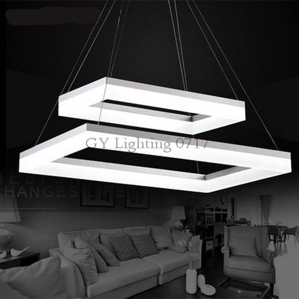 AC110-240V Modern 2 Rectangle LED Pendant Lights for Dining Room Acrylic LED Pendant Lamp Lustres LED Lamparas de techo Lighting luz