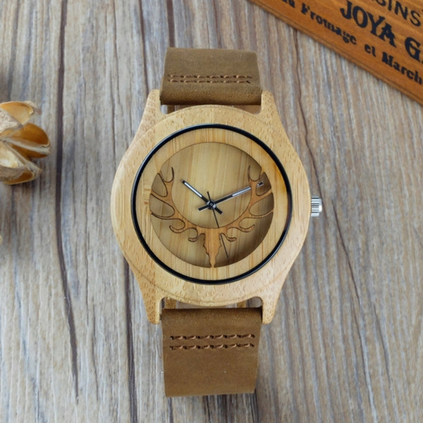 2018 Bamboo Wood Watch Men Women Hollow Deer Genuine Leather Band Strap Nature Wood Bangle Wristwatch Unisex Reloj Hombre Clock
