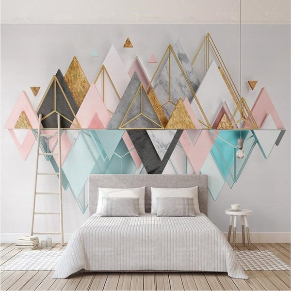 Modern Nordic Style Custom 3D Wallpaper Murals Metallic Glass Geometric Triangle Mural for Living Room Bedroom sofa TV Background Home Decor