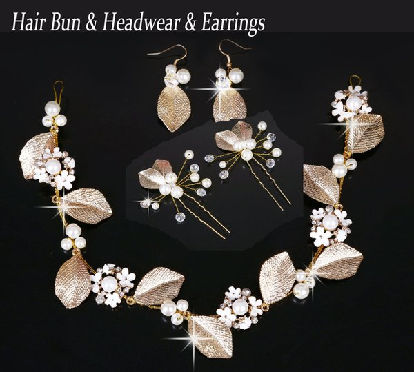 Hair Bun & Headwear & Earrings (Set)