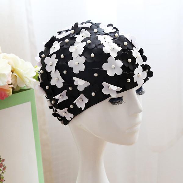 3D Çiçek Tasarım Kadınlar Yüzme Kap Sahte İnci Tarzı Ile Moda Kapaklar Yüzmek Kız Yeni 15hl ZZ Için Renkli Benzersiz Şapka Kullan ...
