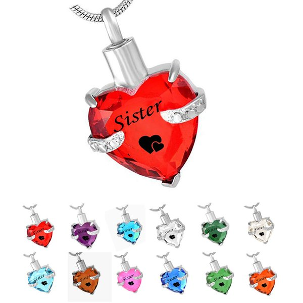 sister Heart 12 Birthstone Cremation Urn Necklace for Ashes Urn Jewelry Memorial Pendant with Fill Kit stainless steel