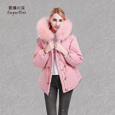 2018 new star with the same paragraph loose fashion down jacket female short paragraph real braid hair large fur collar