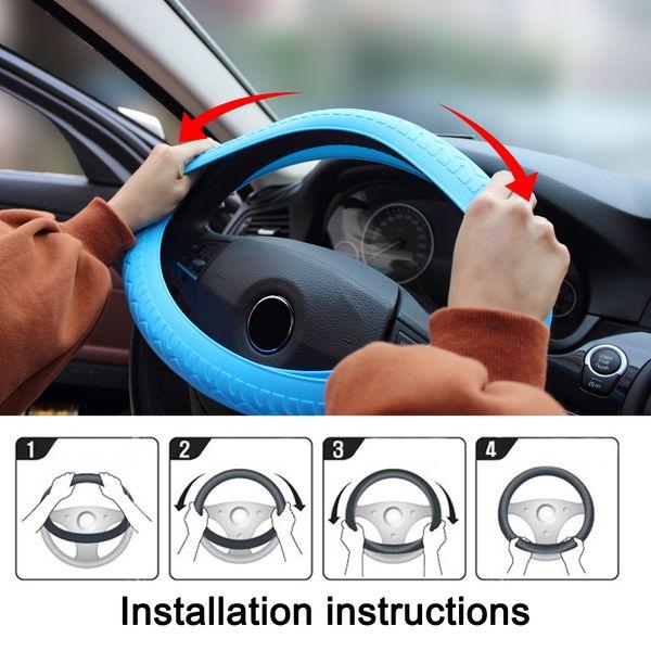 Cubierta auto del volante del coche Cubierta de silicona suave universal Protector de la cubierta antideslizante para el volante del vehículo