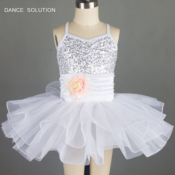 White and Sky Blue Ballet Dance Tutu for Girls Sequin Dress Jazz Dance Costumes 15308