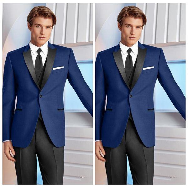 2018 Slim Blue Men Prom Suits Wedding Tuxedos Best Fit Groomsmen ...