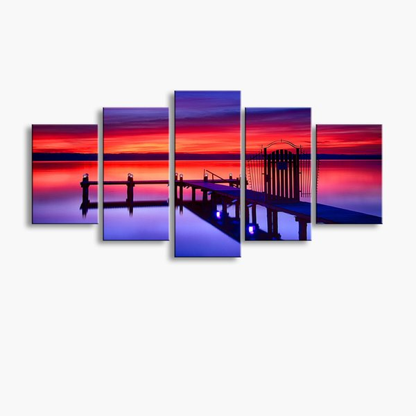5 pieces high-definition print Wooden bridge Landscape canvas oil painting poster and wall art living room picture MUQ5-003